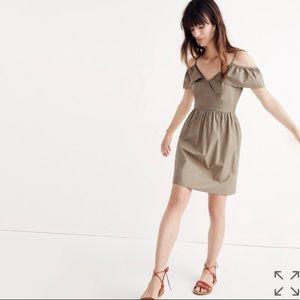 • Madewell • Khaki Cold Shoulder Ruffle Dress 2